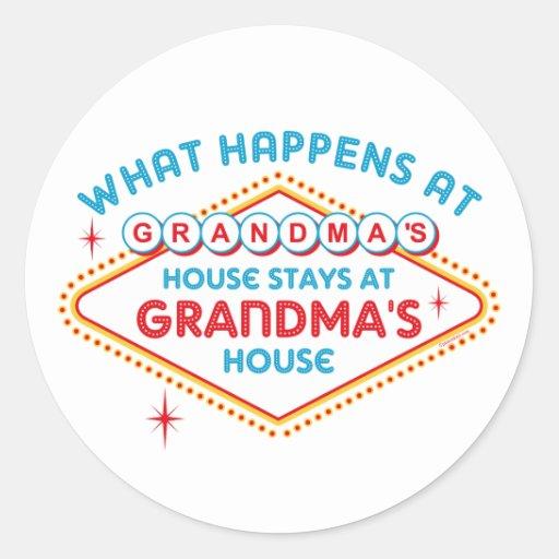 Las Vegas Stays At Grandma's Round Sticker