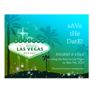 Las Vegas Strip Chic Wedding Save the Date Postcard