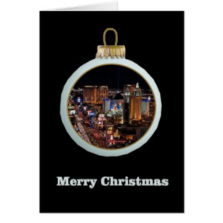 Las Vegas Strip Merry Christmas Ornament Greeting Cards