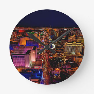 Las Vegas Strip Night Vacation Round Clock