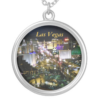 Las Vegas Strip View Silver Plated Necklace