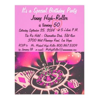 Las Vegas Style Birthday Party Custom Invites