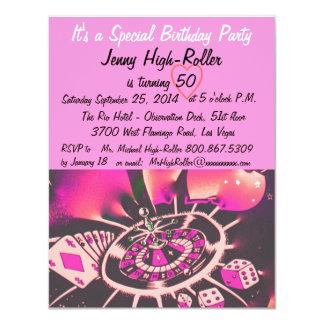 "Las Vegas Style Birthday Party 4.25"" X 5.5"" Invitation Card"