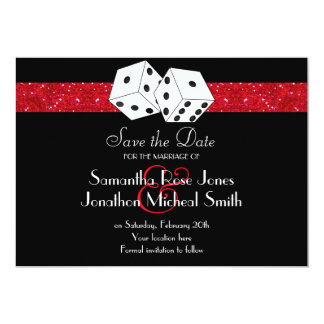 Las Vegas Theme Save the Date Red Faux Glitter 13 Cm X 18 Cm Invitation Card