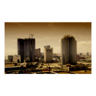 LAS VEGAS, view from stratosphere in sepia Poster