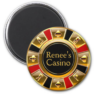 Las Vegas VIP Black Gold Red Casino Chip Favor 6 Cm Round Magnet