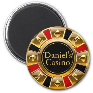Las Vegas VIP Black Gold Red Casino Chip Favor Magnet