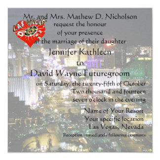 Las Vegas Wedding and Reception Red Heart Card