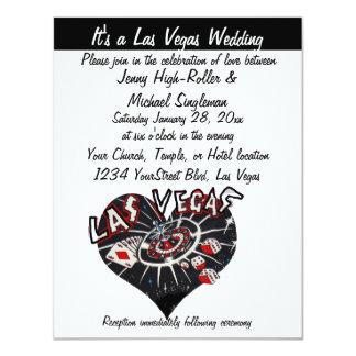 Las Vegas Wedding Contemporary Black &White Heart 11 Cm X 14 Cm Invitation Card