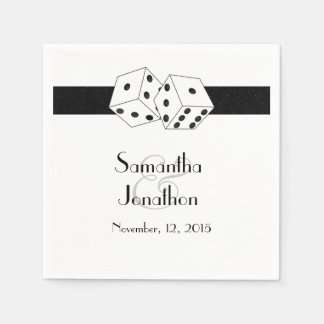 Las Vegas Wedding Dice Theme Black and White Paper Napkin
