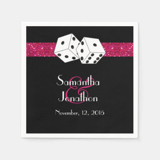 Las Vegas Wedding Dice Theme Hot Pink Faux Glitter Disposable Serviette