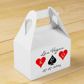 Las Vegas wedding favor box with monogram suits