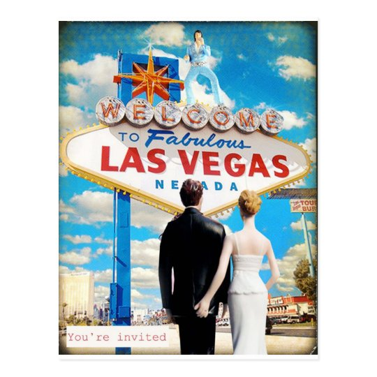 Las vegas wedding invitation postcard zazzlecomau for Wedding invitations las vegas nv