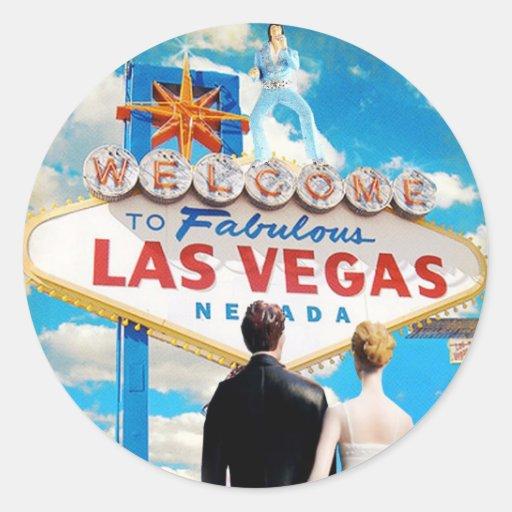 Las vegas wedding invitation round sticker zazzle for Arts and crafts stores in las vegas