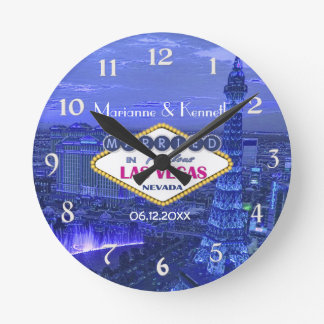 Las Vegas Wedding Round Clock