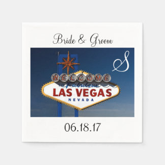 Las Vegas Wedding Theme Monogram Date Couple Names Disposable Serviette