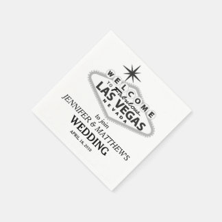 Las Vegas Welcome Sign Personalized Wedding Paper Serviettes