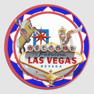 Las Vegas Welcome Sign Red & Blue Poker Chip Classic Round Sticker