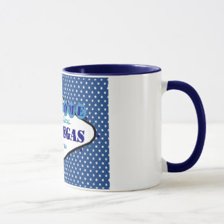 Las Vegas White Polka Dots, with Blue background   Mug
