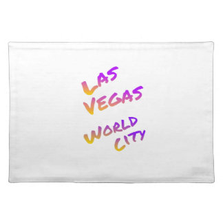 Las Vegas world city, colorful text art Place Mat
