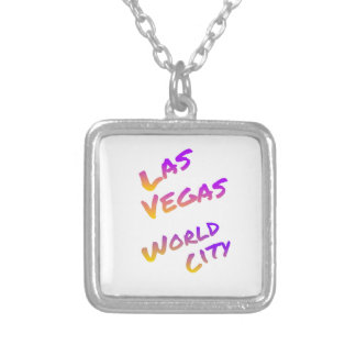 Las Vegas world city, colorful text art Silver Plated Necklace