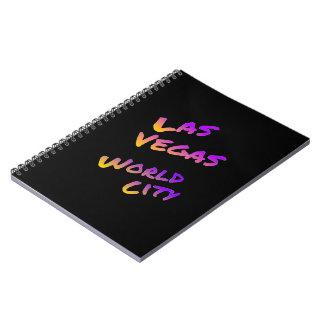 Las Vegas world city, colorful text art Spiral Notebook