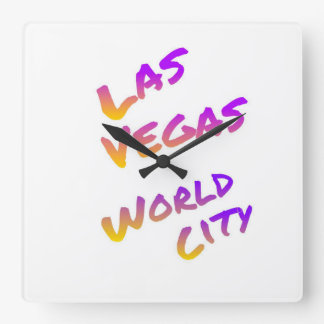 Las Vegas world city, colorful text art Square Wall Clock