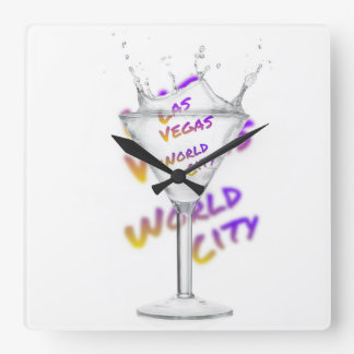 Las Vegas world city, Water Glass Square Wall Clock