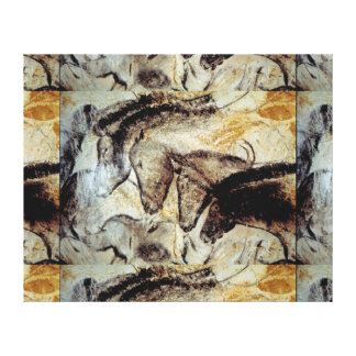 Lascaux Cave Painting of Horses on Canvas Stretched Canvas Print