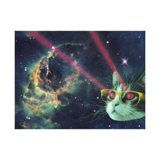Laser cat with glasses in space canvas print
