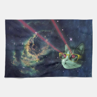 Laser cat with glasses in space towel