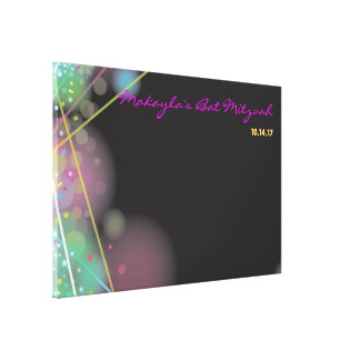 LASER GLOW Bar Bat Mitzvah Sign-In Board Canvas Print