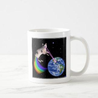 Laser Rainbow Space Cat Mug