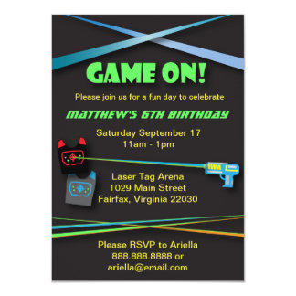 Laser Tag Birthday or Team Building Party 11 Cm X 16 Cm Invitation Card