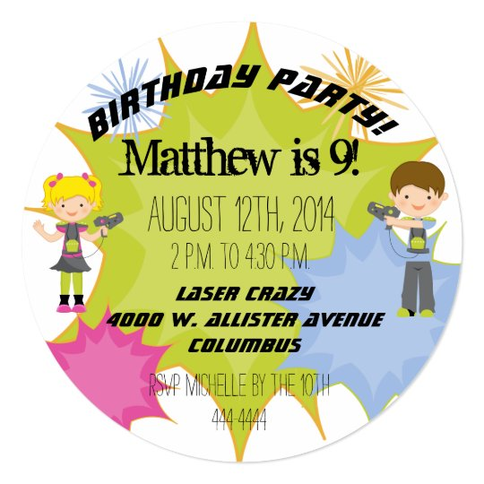 Laser Tag Birthday Party Customised Circle Invite