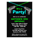 Laser Tag Blue Green Birthday Party Invitations