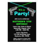 Laser Tag Blue Green Birthday Party Invitations