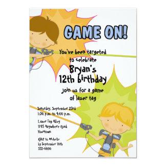 "Laser Tag Boys Birthday Invitation 5"" X 7"" Invitation Card"