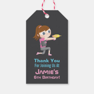 Laser Tag Game Girl Thank You Gift Tags
