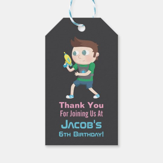 Laser Tag Game Kids Thank You Gift Tags
