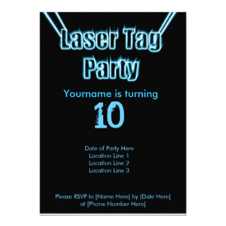 Laser Tag Party Blue Invitation