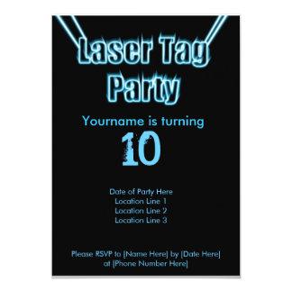 "Laser Tag Party Blue Invitation 5"" X 7"" Invitation Card"