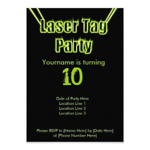 Laser Tag Party Green Invitation