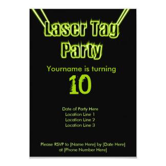 "Laser Tag Party Green Invitation 5"" X 7"" Invitation Card"