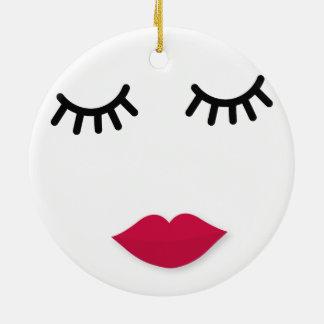 Lash and Red Lip Sweet Girl Portrait Ceramic Ornament