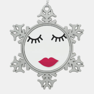 Lash and Red Lip Sweet Girl Portrait Snowflake Pewter Christmas Ornament