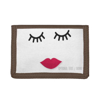 Lash and Red Lip Sweet Girl Portrait Tri-fold Wallets