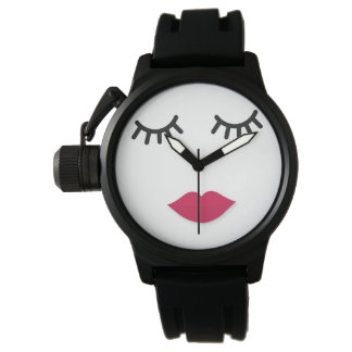 Lash and Red Lip Sweet Girl Portrait Watch