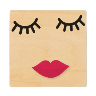 Lash and Red Lip Sweet Girl Portrait Wood Coaster