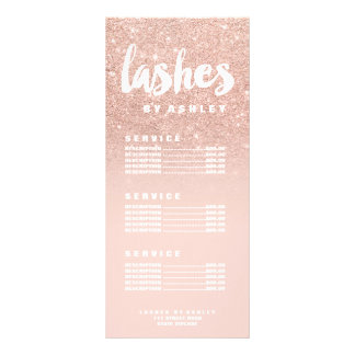 Lashe modern typography blush rose gold price list rack card template